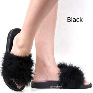 New Black Feather Slip On Slides Flat Sandals